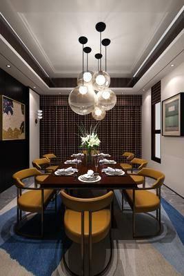 餐桌, 餐椅, 单人椅, 吊灯, 装饰画, 挂画, 壁灯, 新中式