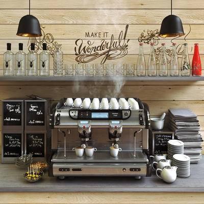 咖啡机, 餐布, 餐具, 吊灯, 食物, 现代, 工业风, 杯子, 咖啡