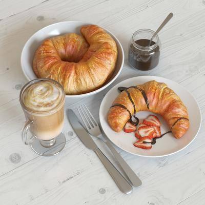 食物, 面包, 咖啡, 刀叉, 碟子, 草莓, 现代
