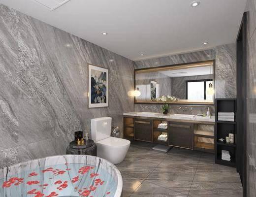 现代, 浴室, ?#35789;?#21488;, 坐厕, 浴缸