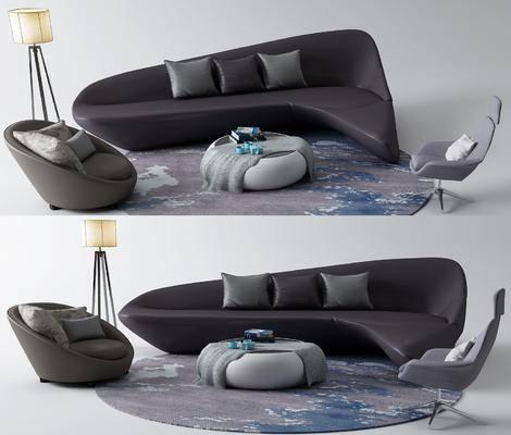沙发组合, 单椅, 茶几, 落地灯