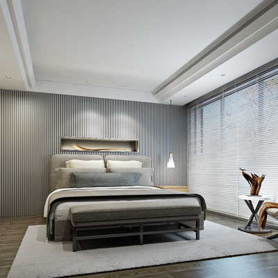 北欧卧室, 现代, 北欧, 卧室, 床, 单人沙发, 休闲沙发, 边几, 装饰画, 挂画