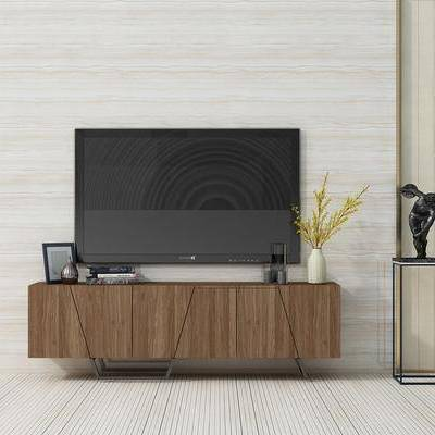 电视柜, 现代, 电视, 花瓶, 陈设品, 摆件