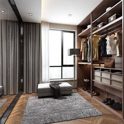 衣帽间, 沙发凳, 衣柜, 衣服, 置物柜, 鞋子, 现代
