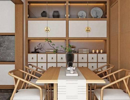 茶几, 桌椅组合, 置物柜, 吊灯