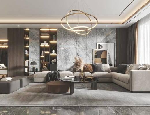 现代, 客厅, 餐厅, 家装