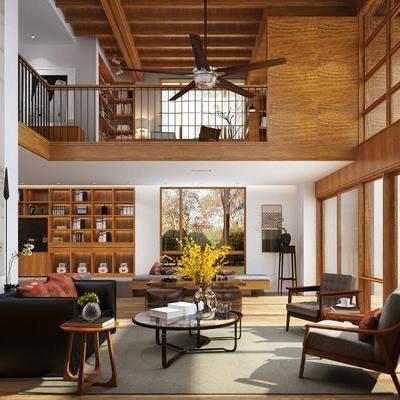 客厅, 装饰柜, 多人沙发, 单人沙发, 茶几, 落地灯, 摆件, 装饰品, 陈设品, 脚踏沙发, 边几, 书籍, 桌子, 单人椅, 休闲椅, 风扇吊灯, 现代