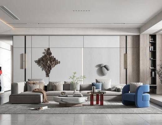 现代简约客厅, 沙发, 茶几, 墙饰