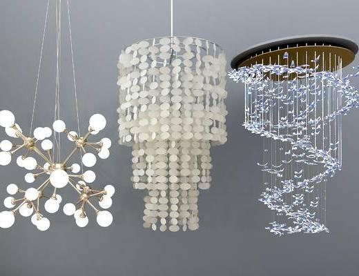 现代吊灯, 多头灯泡吊灯, 水晶吊灯, 简约吊灯