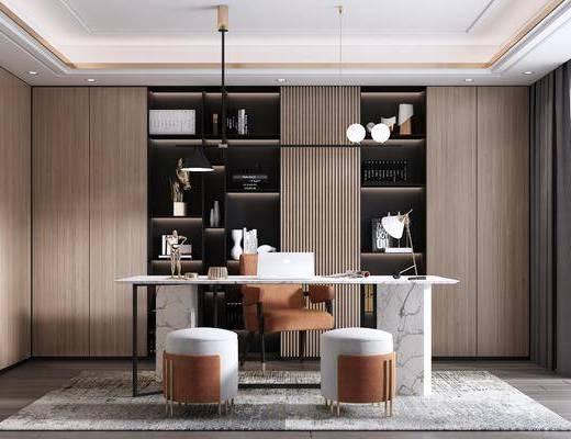 书桌, 桌椅组合, 吊灯, 摆件