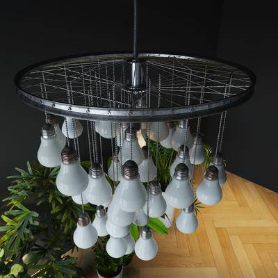 工业风, 吊灯, 灯泡, 轮胎, 链子, 北欧, 球灯, 亮灯, 吸顶灯, 灯具