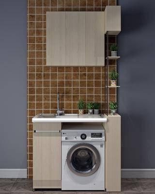 洗衣机组合, 盆栽组合, 绿植植物, 洗手台组合, 现代