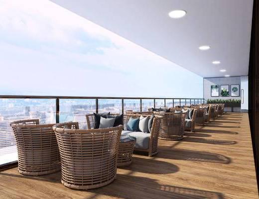 现代酒店休闲区, 藤椅, 挂画