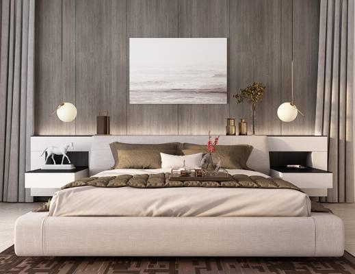 床, 床头柜组合, 床具组合, 装饰画