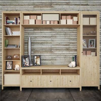 实木书架, 电视柜, 现代