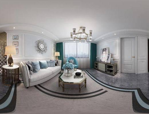 客厅, 沙发组合, 沙发茶几组合, 多人沙发, 茶几, 边几, 吊灯, 边柜, 装饰画, 餐桌椅, 桌椅组合