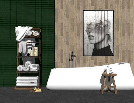 卫浴, 柜架组合, 装饰画, 浴缸