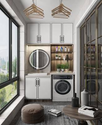 阳台, 洗衣机, 浴柜, 电器, 墙饰