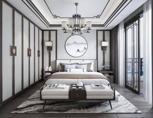 卧室, 双人床, 床尾凳, 壁灯, 吊灯, 床头柜, 圆框画, 装饰画, 风景画, 摆件, 装饰品, 陈设品, 新中式