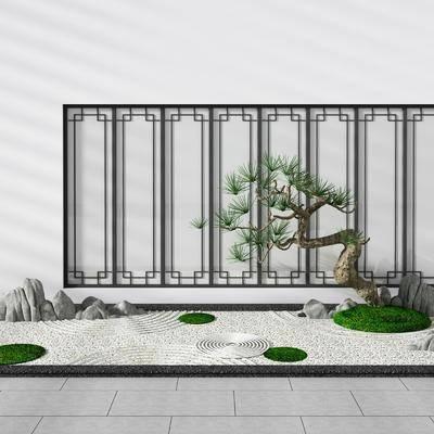 景观树, 假山树, 园艺小品, 屏风, 绿植植物, 新中式