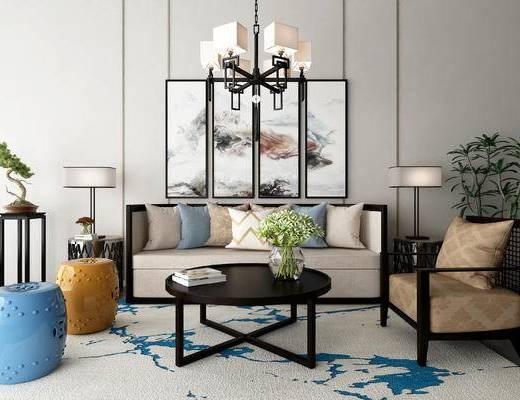 新中式, 中式, 沙发茶几组合, 沙发组合, 多人沙发, 装饰画, 凳子, 吊灯, 端景台, 盆栽, 茶几, 边几, 台灯, 单人沙发