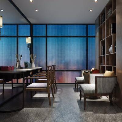 茶室, 茶桌, 单人椅, 单人沙发, 装饰柜, 摆件, 装饰品, 陈设品, 吊灯, 新中式