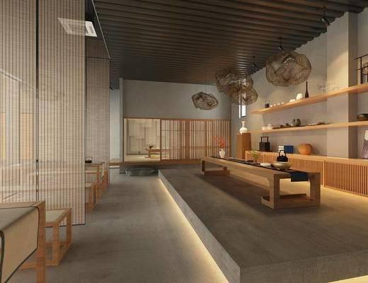 茶室, 新中式茶室, 书桌, 摆件, 茶具, 新中式