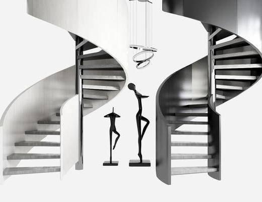 金属雕塑, 金属吊灯, 大理石旋转楼梯, 装饰品, 摆件