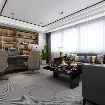 办公室, 经理室, 办公桌, 办公椅, 单椅, 沙发, 茶几, 书柜, 置物柜, 摆件, 台灯, 装饰品, 植物, 盆栽, 案几