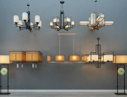 中式灯具组合, 吊灯, 中式落地灯
