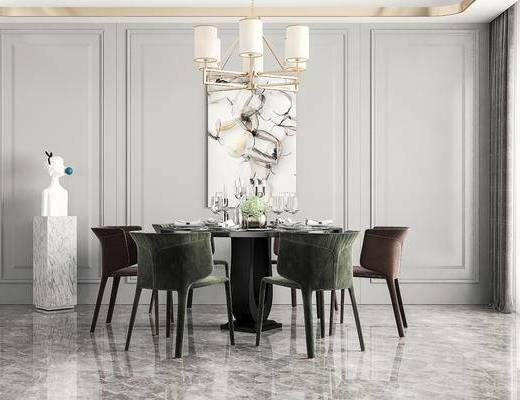 现代, 餐桌椅, 装饰画, 摆件