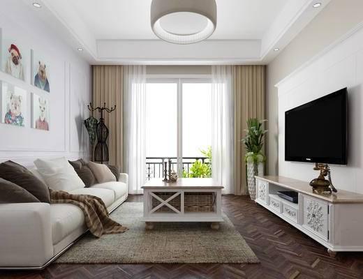 客厅, 组合, 沙发组合, 吊灯, 电视柜, 沙发茶几组合
