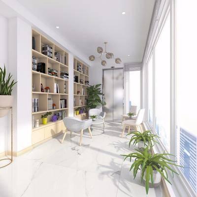 装饰柜, 单人椅, 休闲椅, 摆件, 书籍, 茶几, 吊灯, 盆栽, 绿植, 植物, 现代
