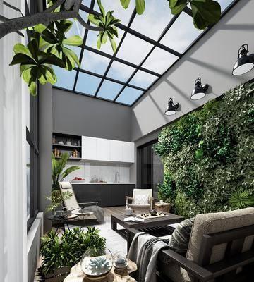 阳台, 现代阳台, 沙发组合, 单椅, 植物, 盆栽, 现代