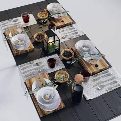 餐桌, 食物, 餐具, 现代, 碗碟, 刀叉