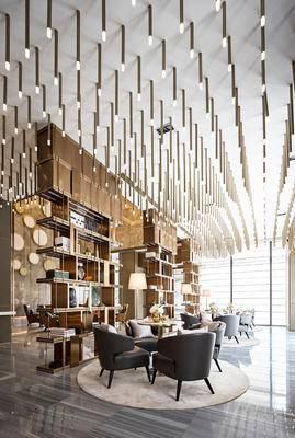 洽谈区, 现代, 后现代, 会客区, 沙发组合, 吊灯, 陈设品, 单人沙发