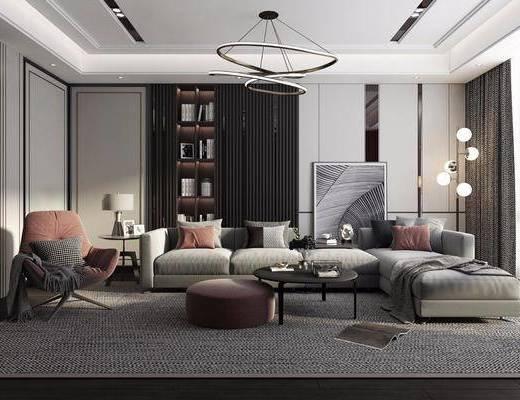 沙发组合, 茶几, 落地灯, 吊灯, 摆件组合, 置物柜, 单椅