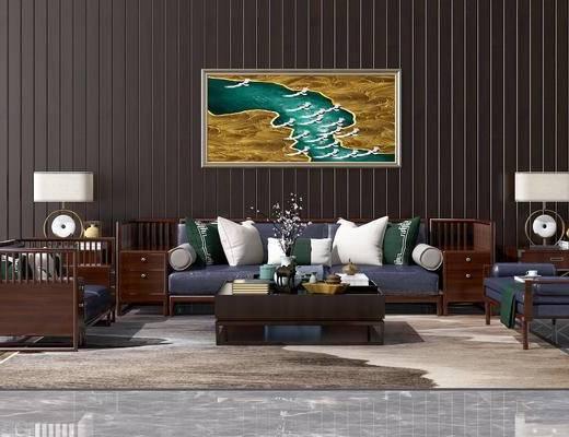 新中式, 沙发, 茶几, 花瓶, 摆件, 陈设品, 单椅, 挂画, 案几, 装饰画