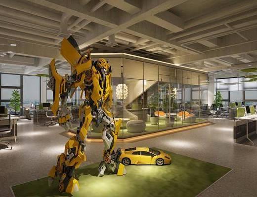 大黄蜂机械人, 办公桌, 办公椅, 单人椅, 电脑桌, 盆栽, 绿植植物, 单人沙发, 吊灯, 现代