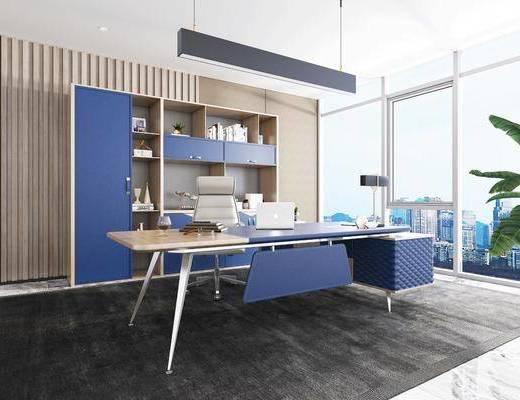 现代, 办公桌, 办公椅, 文件柜