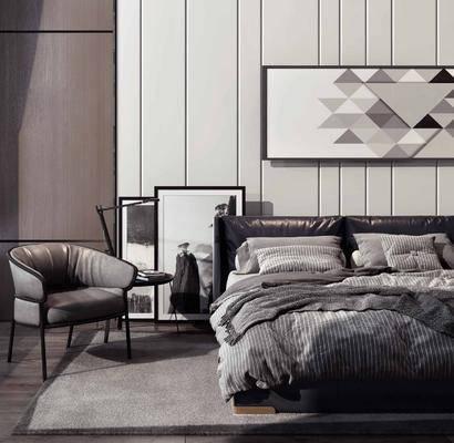 双人床, 装饰画, 单椅, 地毯, 背景墙, 单人椅