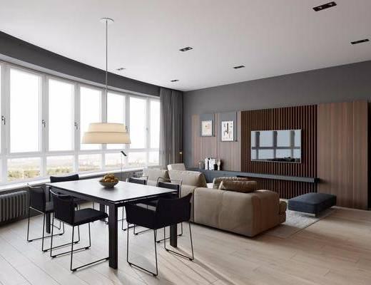 客厅, 餐厅, 多人沙发, 双人沙发, 餐桌, 餐椅, 单人椅, 吊灯, 现代