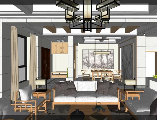沙发餐桌组合, 新中式客餐厅