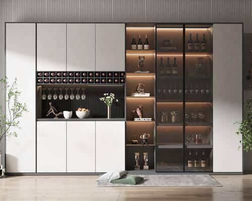 现代, 酒柜, 柜架, 组合