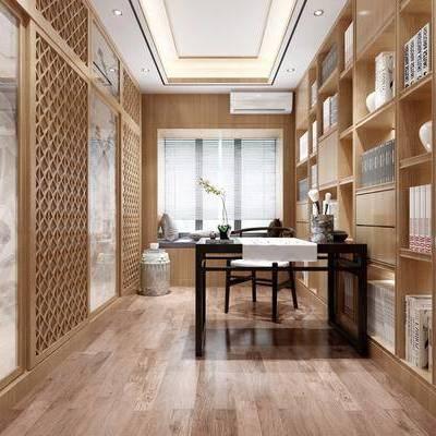 书房, 装饰柜, 书籍, 摆件, 书桌, 单人椅, 榻榻米, 新中式