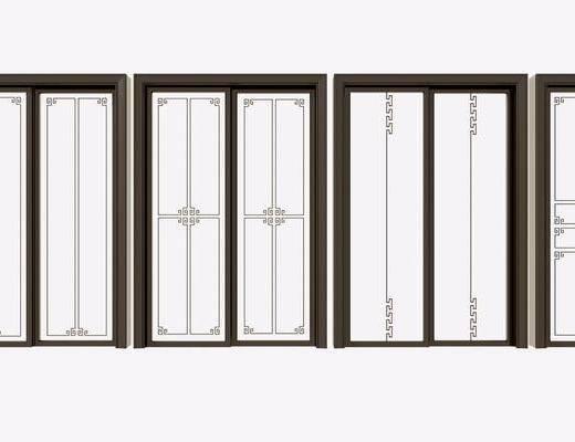 花格门, 推拉门, 夹丝玻璃, 门组合, 新中式