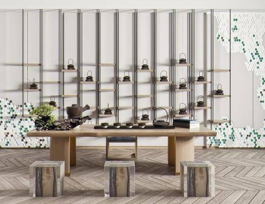 茶桌椅, 泡茶桌椅, 茶具, 盆栽, 墙饰, 木凳
