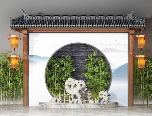 屋檐假山, 竹子, 园艺小品, 新中式