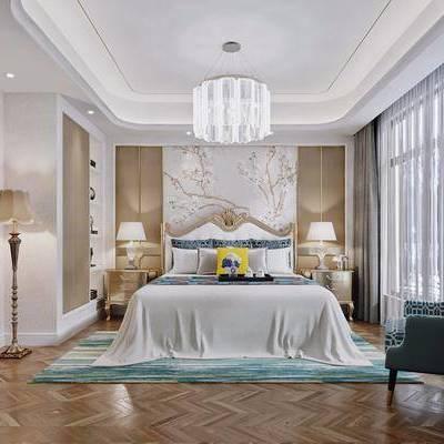卧室, 现代, 简欧, 床, 吊灯, 落地灯, 床头柜, 台灯, 沙发, 现代卧室, 简欧卧室, 双十一