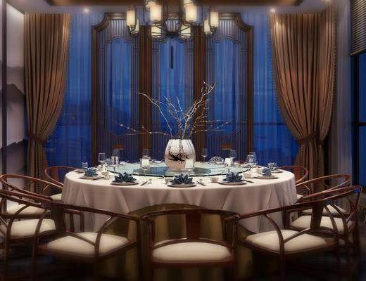 包厢, 餐厅, 新中式包厢, 桌椅组合, 圆桌, 餐具, 花瓶花卉, 吊灯, 新中式